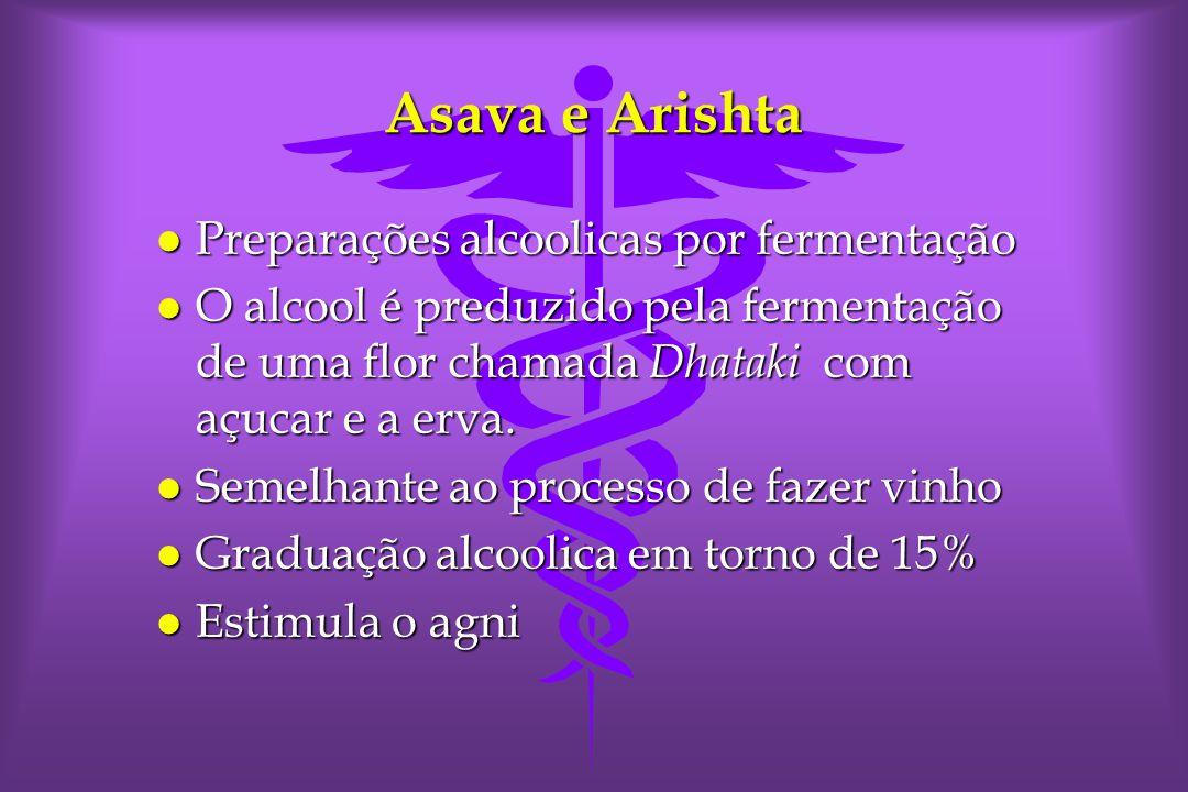 Asava e Arishta l Preparações alcoolicas por fermentação l O alcool é preduzido pela fermentação de uma flor chamada Dhataki com açucar e a erva.