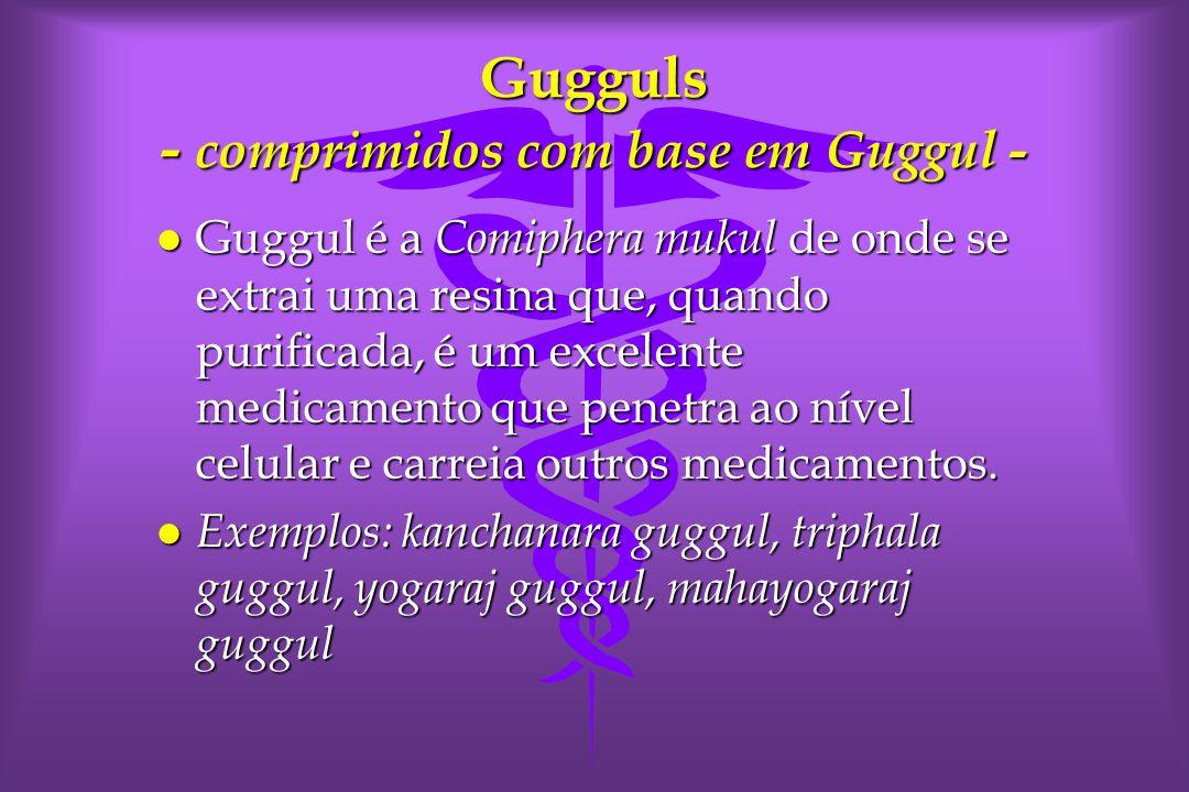 Gugguls - comprimidos com base em Guggul - l Guggul é a Comiphera mukul de onde se extrai uma resina que, quando purificada, é um excelente medicamento que penetra ao nível celular e carreia outros medicamentos.