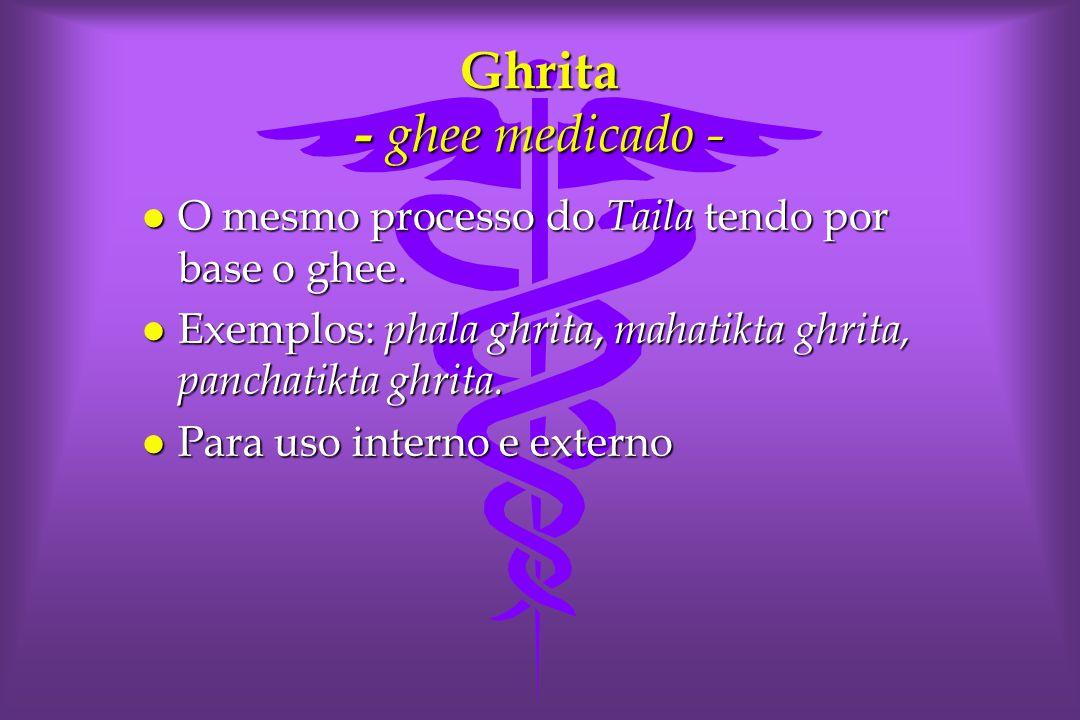 Ghrita - ghee medicado - l O mesmo processo do Taila tendo por base o ghee.