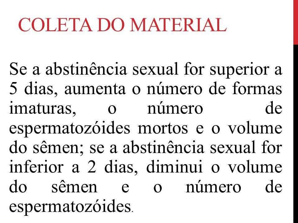 COLETA DO MATERIAL Se a abstinência sexual for superior a 5 dias, aumenta o número de formas imaturas, o número de espermatozóides mortos e o volume do sêmen; se a abstinência sexual for inferior a 2 dias, diminui o volume do sêmen e o número de espermatozóides.
