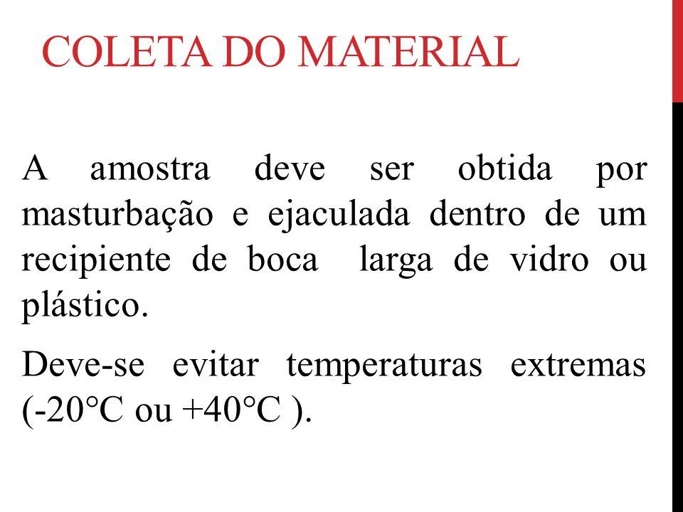 COLETA DO MATERIAL A amostra deve ser obtida por masturbação e ejaculada dentro de um recipiente de boca larga de vidro ou plástico. Deve-se evitar te