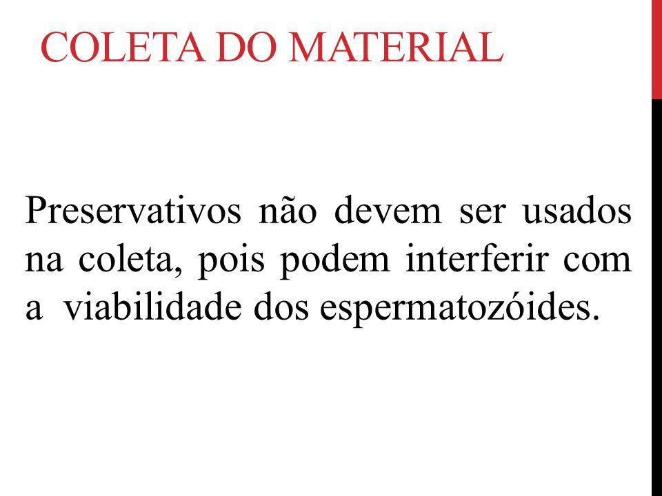 COLETA DO MATERIAL Preservativos não devem ser usados na coleta, pois podem interferir com a viabilidade dos espermatozóides.