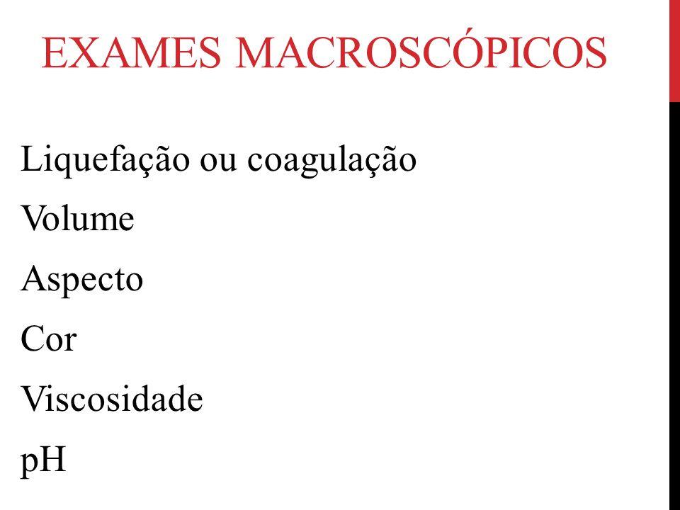 EXAMES MACROSCÓPICOS Liquefação ou coagulação Volume Aspecto Cor Viscosidade pH