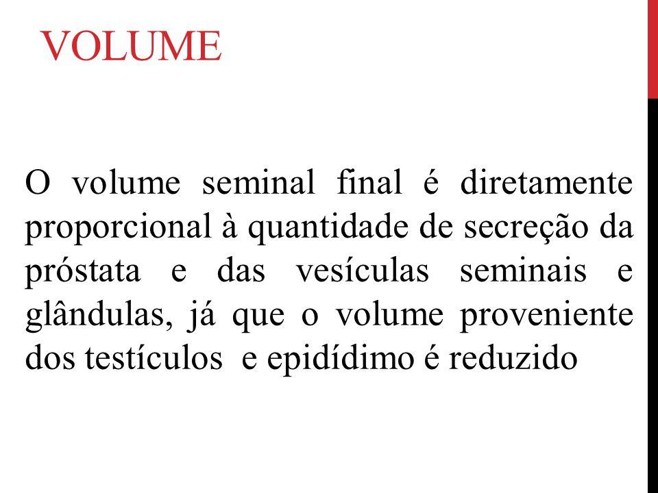 VOLUME O volume seminal final é diretamente proporcional à quantidade de secreção da próstata e das vesículas seminais e glândulas, já que o volume proveniente dos testículos e epidídimo é reduzido