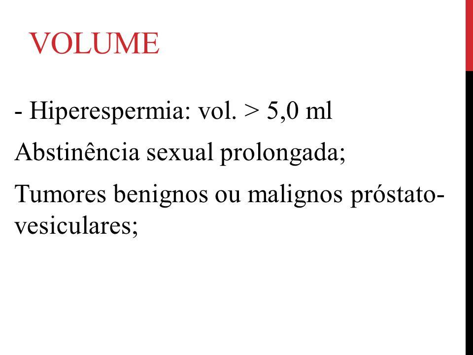VOLUME - Hiperespermia: vol. > 5,0 ml Abstinência sexual prolongada; Tumores benignos ou malignos próstato- vesiculares;