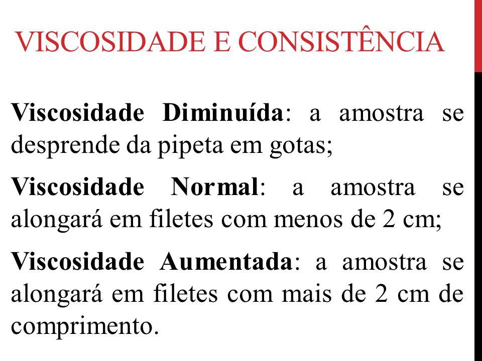 VISCOSIDADE E CONSISTÊNCIA Viscosidade Diminuída: a amostra se desprende da pipeta em gotas; Viscosidade Normal: a amostra se alongará em filetes com