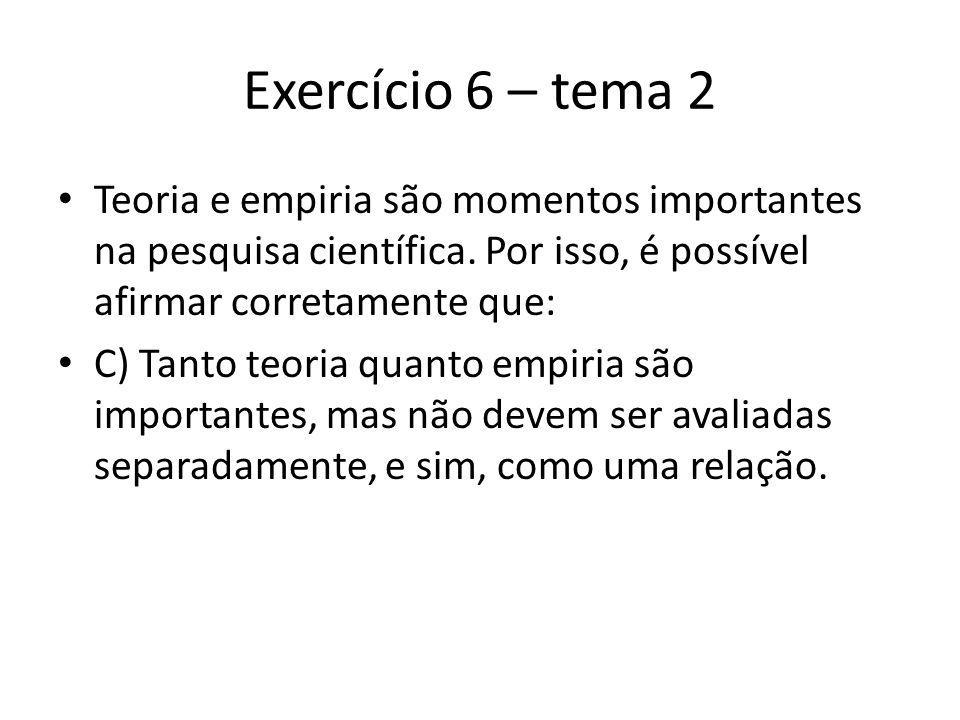 Exercício 6 – tema 2 Teoria e empiria são momentos importantes na pesquisa científica.