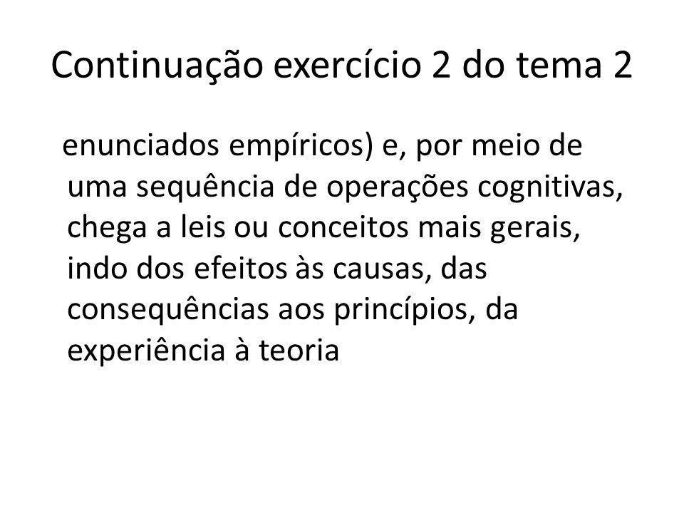 Exercício 3 – tema 2 Agora, tente identificar o argumento dedutivista entre as opções abaixo: A)A dedução desenvolve leis somente a partir da elaboração de hipóteses que são deduzidas da observação Justificativa: Na dedução, temos do geral para o particular (teoria para empiria, com a etapa das hipóteses)