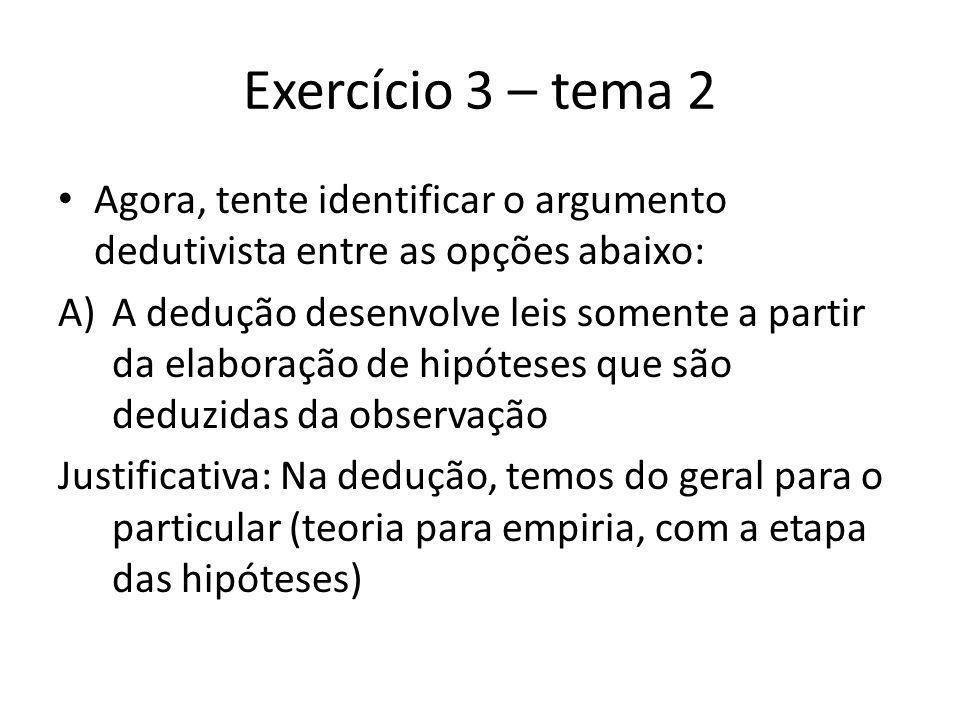 Exercício 3 – tema 2 (cont.) O cientista que trabalha com a dedução, primeiro cria hipóteses, que precisam ser verificadas com as teoria e leis gerais.