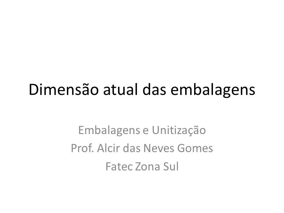 Dimensão atual das embalagens Embalagens e Unitização Prof. Alcir das Neves Gomes Fatec Zona Sul