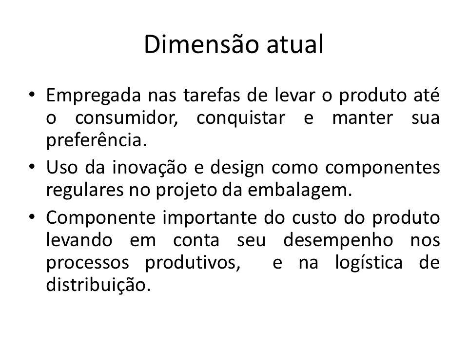 Dimensão atual Empregada nas tarefas de levar o produto até o consumidor, conquistar e manter sua preferência. Uso da inovação e design como component