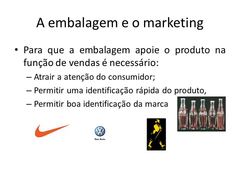 A embalagem e o marketing Para que a embalagem apoie o produto na função de vendas é necessário: – Atrair a atenção do consumidor; – Permitir uma iden