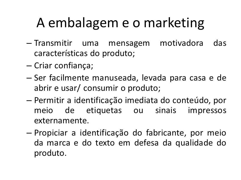 A embalagem e o marketing – Transmitir uma mensagem motivadora das características do produto; – Criar confiança; – Ser facilmente manuseada, levada p