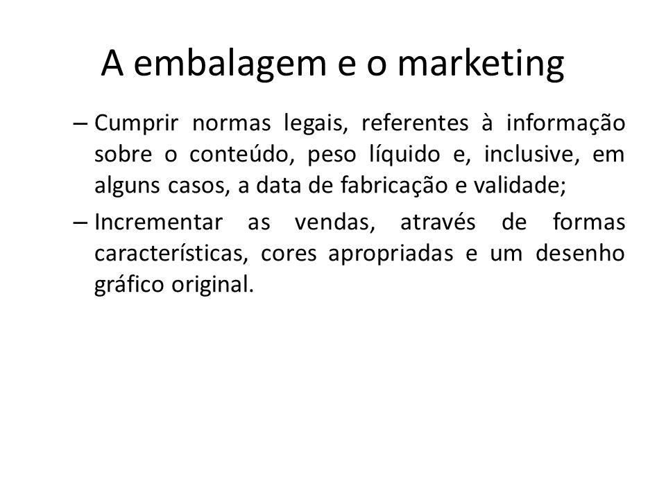A embalagem e o marketing – Cumprir normas legais, referentes à informação sobre o conteúdo, peso líquido e, inclusive, em alguns casos, a data de fab