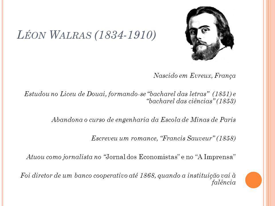 Entretanto, Walras considerava extremamente complicado obter na realidade todas as condições para que houvesse um sistema de equilíbrio geral competitivo como o descrito na teoria pura.