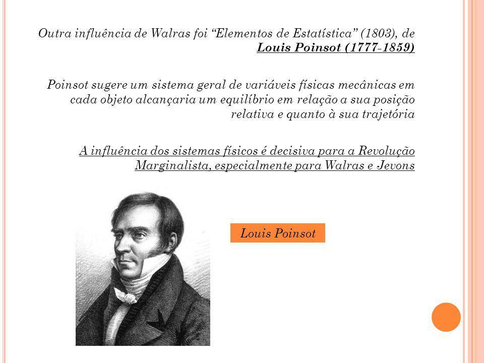 Outra influência de Walras foi Elementos de Estatística (1803), de Louis Poinsot (1777-1859) Poinsot sugere um sistema geral de variáveis físicas mecânicas em cada objeto alcançaria um equilíbrio em relação a sua posição relativa e quanto à sua trajetória A influência dos sistemas físicos é decisiva para a Revolução Marginalista, especialmente para Walras e Jevons Louis Poinsot