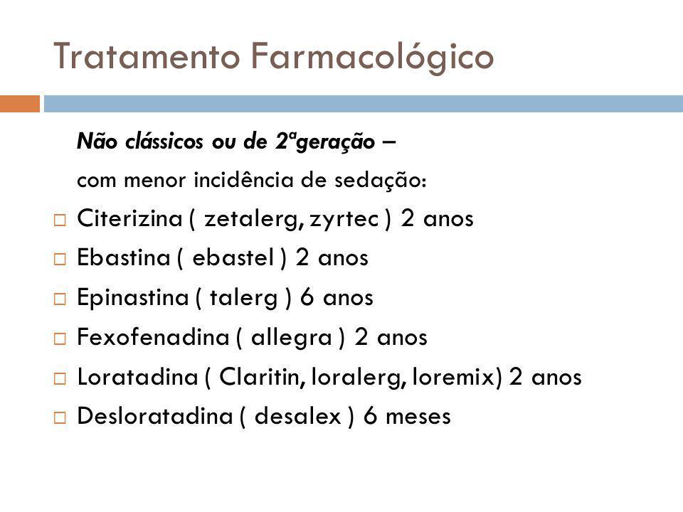 Tratamento Farmacológico Não clássicos ou de 2ªgeração – com menor incidência de sedação: Citerizina ( zetalerg, zyrtec ) 2 anos Ebastina ( ebastel )