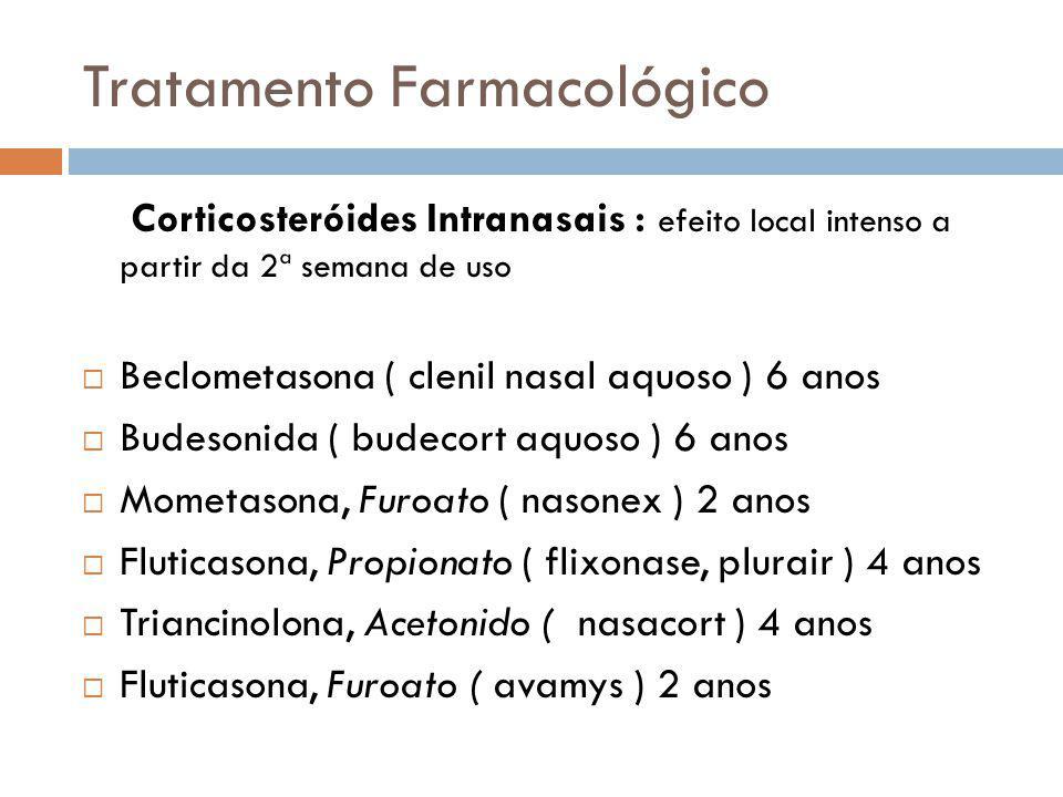 Tratamento Farmacológico Corticosteróides Intranasais : efeito local intenso a partir da 2ª semana de uso Beclometasona ( clenil nasal aquoso ) 6 anos