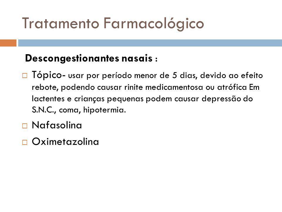 Tratamento Farmacológico Descongestionantes nasais : Tópico- usar por período menor de 5 dias, devido ao efeito rebote, podendo causar rinite medicame