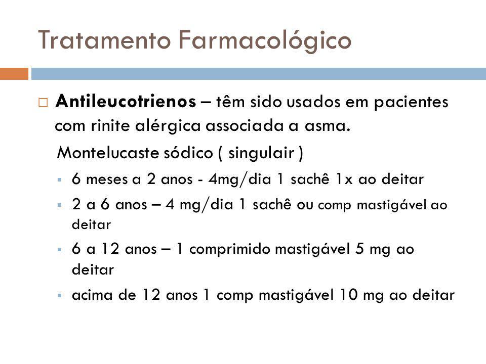 Tratamento Farmacológico Antileucotrienos – têm sido usados em pacientes com rinite alérgica associada a asma. Montelucaste sódico ( singulair ) 6 mes