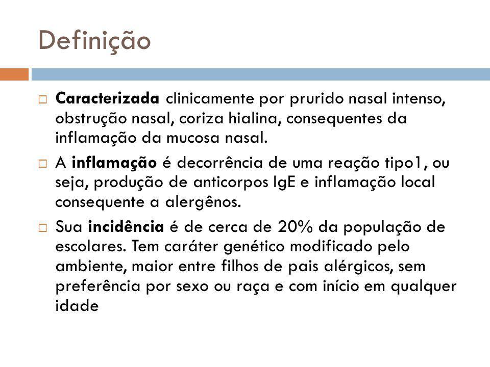 Definição Caracterizada clinicamente por prurido nasal intenso, obstrução nasal, coriza hialina, consequentes da inflamação da mucosa nasal. A inflama