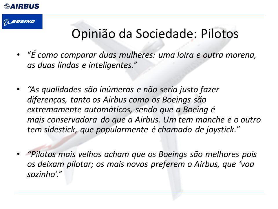 Opinião da Sociedade: Pilotos É como comparar duas mulheres: uma loira e outra morena, as duas lindas e inteligentes.