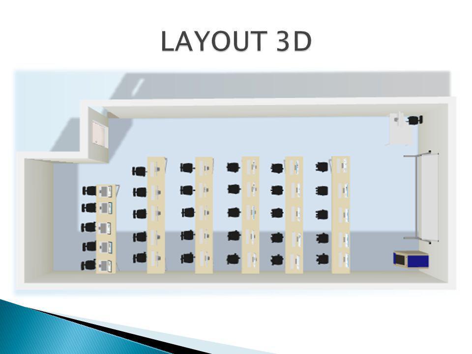 Layout moderno; Bancada para notebooks; Bancadas fixas, gabinetes internos; Acesso Wireless; Projetor de imagens preso ao teto; Rack único.