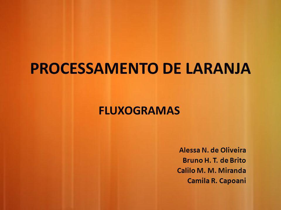 PROCESSAMENTO DE LARANJA FLUXOGRAMAS Alessa N. de Oliveira Bruno H. T. de Brito Calilo M. M. Miranda Camila R. Capoani