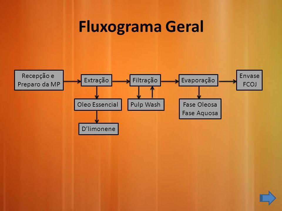 Recepção e Preparo da MP ExtraçãoFiltração Pulp Wash Evaporação Envase FCOJ Oleo Essencial Dlimonene Fluxograma Geral Fase Oleosa Fase Aquosa
