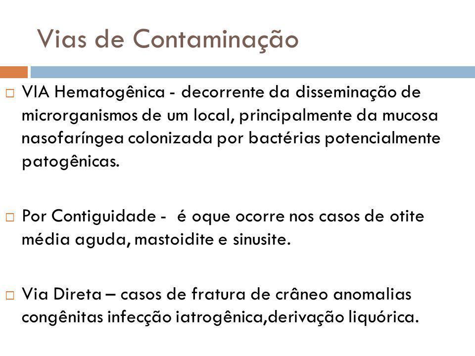 Vias de Contaminação VIA Hematogênica - decorrente da disseminação de microrganismos de um local, principalmente da mucosa nasofaríngea colonizada por bactérias potencialmente patogênicas.