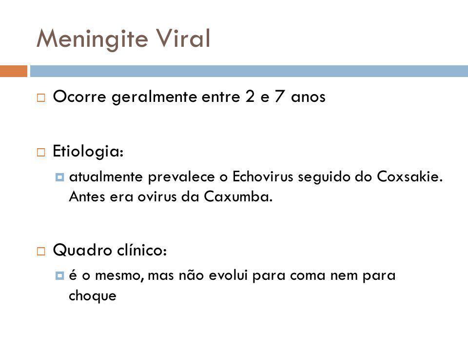 Meningite Viral Ocorre geralmente entre 2 e 7 anos Etiologia: atualmente prevalece o Echovirus seguido do Coxsakie.