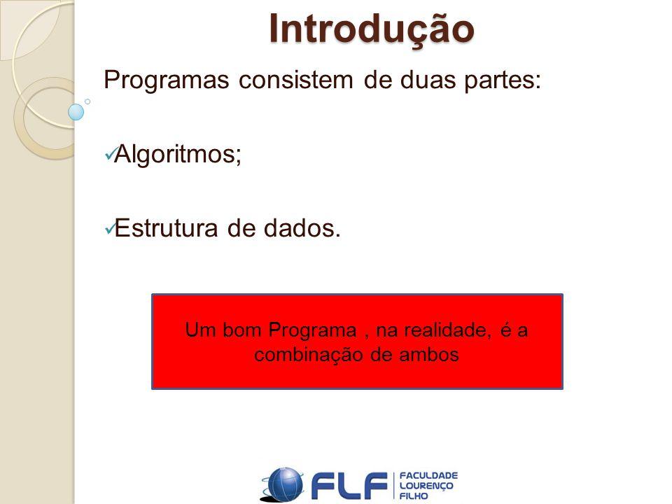Introdução Programas consistem de duas partes: Algoritmos; Estrutura de dados.