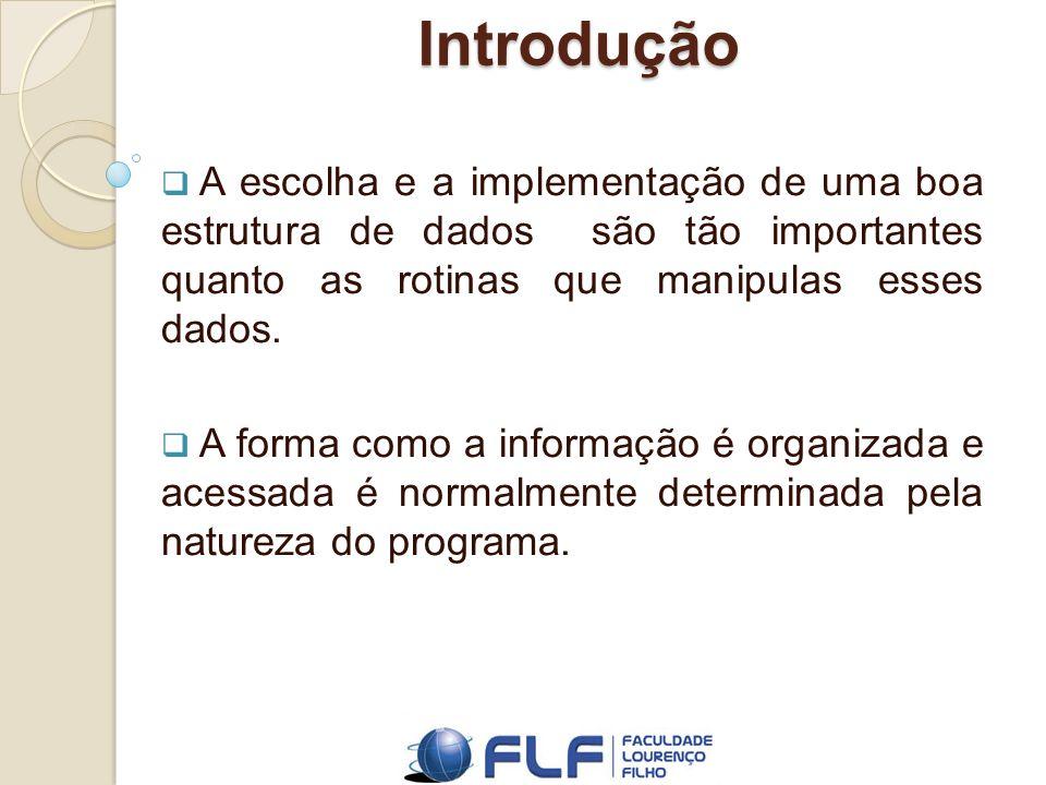 Introdução As estruturas de dados são utilizadas para realizar o armazenamento e a recuperação de dados que se deseja trabalhar.
