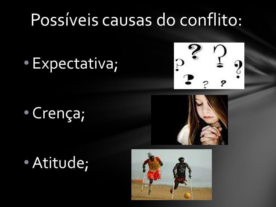 Expectativa; Crença; Atitude; Possíveis causas do conflito: