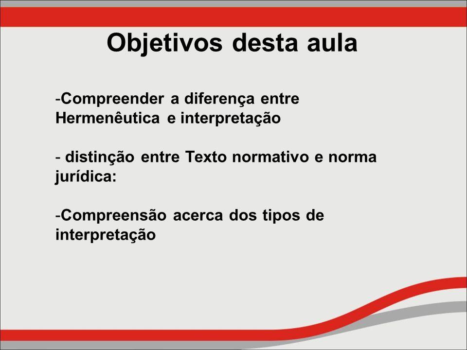 Objetivos desta aula -Compreender a diferença entre Hermenêutica e interpretação - distinção entre Texto normativo e norma jurídica: -Compreensão acer