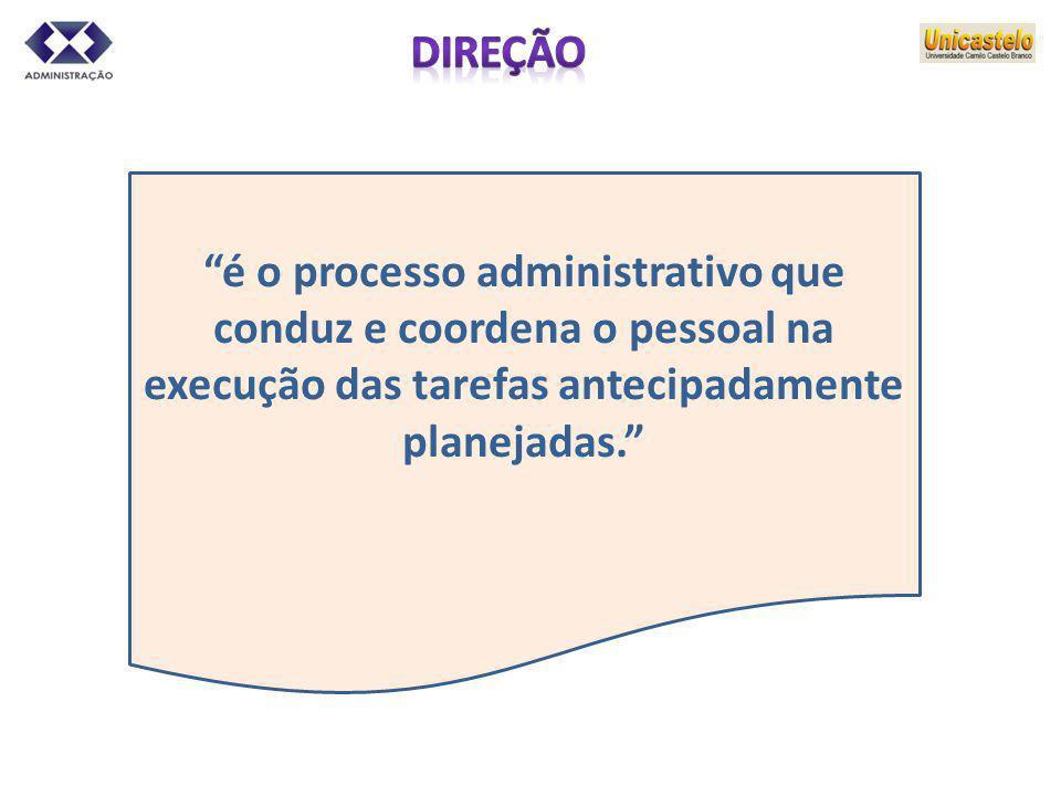 é o processo administrativo que conduz e coordena o pessoal na execução das tarefas antecipadamente planejadas.