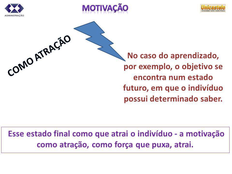 No caso do aprendizado, por exemplo, o objetivo se encontra num estado futuro, em que o indivíduo possui determinado saber. Esse estado final como que
