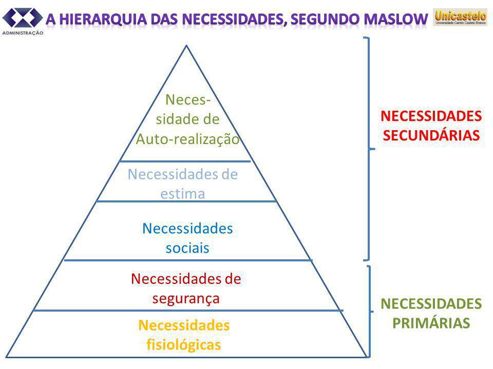 Necessidades fisiológicas Neces- sidade de Auto-realização Necessidades de estima Necessidades sociais Necessidades de segurança NECESSIDADES SECUNDÁR