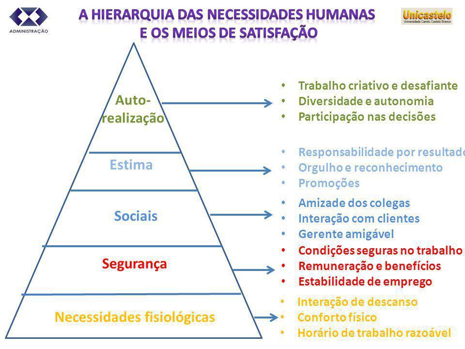 Necessidades fisiológicas Auto- realização Estima Sociais Segurança Trabalho criativo e desafiante Diversidade e autonomia Participação nas decisões R