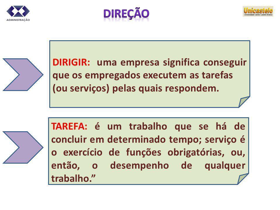 DIRIGIR: uma empresa significa conseguir que os empregados executem as tarefas (ou serviços) pelas quais respondem. TAREFA: é um trabalho que se há de