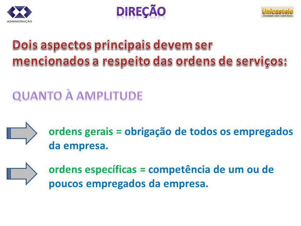 ordens gerais = obrigação de todos os empregados da empresa. ordens específicas = competência de um ou de poucos empregados da empresa.