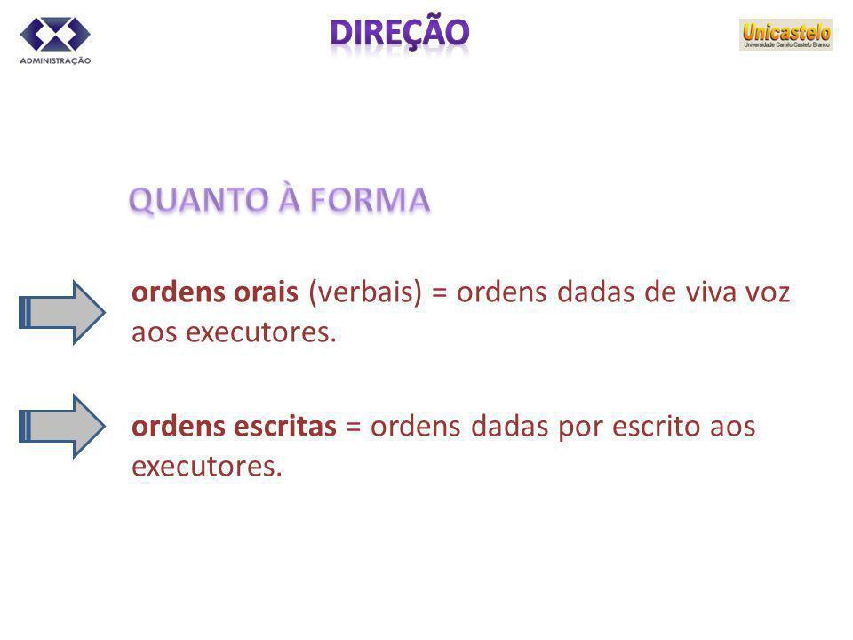 ordens orais (verbais) = ordens dadas de viva voz aos executores. ordens escritas = ordens dadas por escrito aos executores.