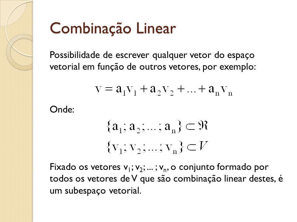 Combinação Linear Possibilidade de escrever qualquer vetor do espaço vetorial em função de outros vetores, por exemplo: Onde: Fixado os vetores v 1 ;