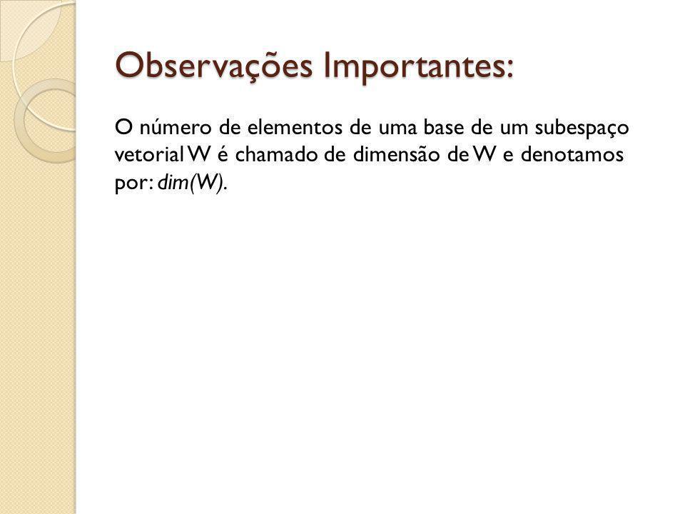 Observações Importantes: O número de elementos de uma base de um subespaço vetorial W é chamado de dimensão de W e denotamos por: dim(W).