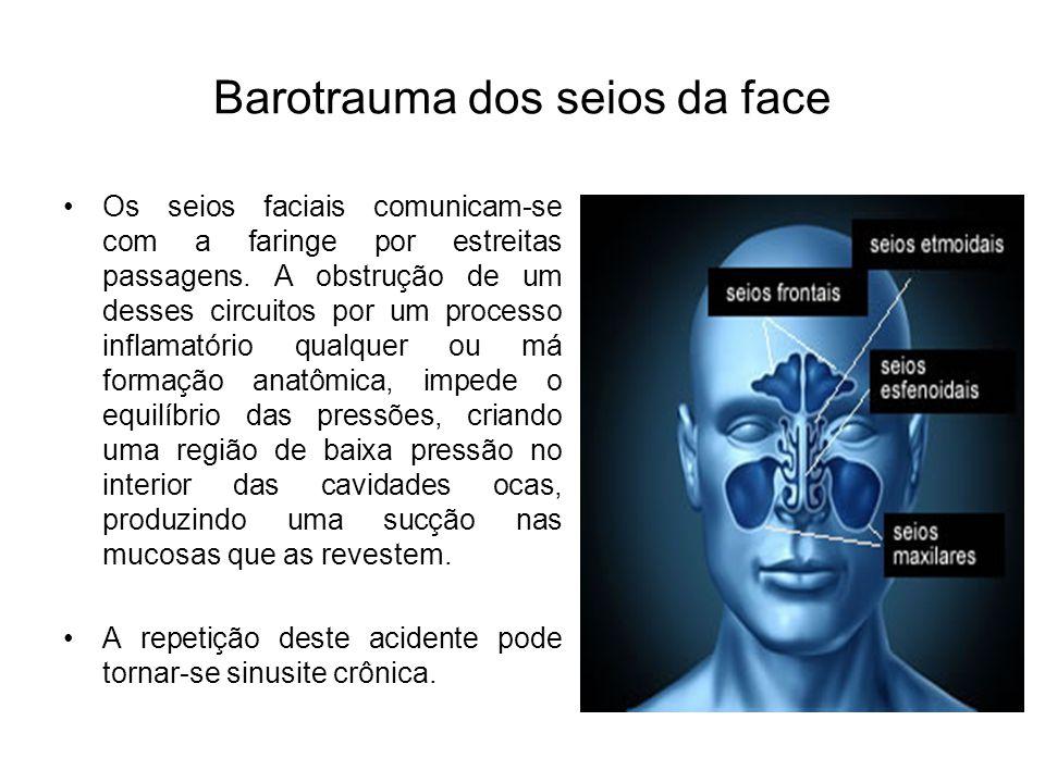 Baurotrauma pulmonar ou torácico À medida que o mergulhador vai descendo, a pressão aumenta consideravelmente e, por consequência, os pulmões vão se comprimindo, reduzindo seu volume.