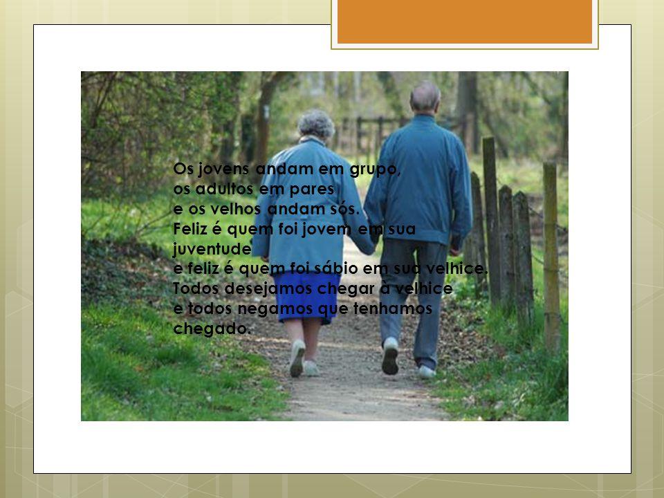 Os jovens andam em grupo, os adultos em pares e os velhos andam sós. Feliz é quem foi jovem em sua juventude e feliz é quem foi sábio em sua velhice.