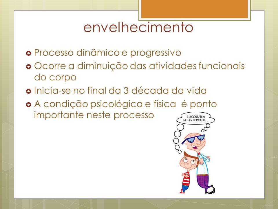 envelhecimento Processo dinâmico e progressivo Ocorre a diminuição das atividades funcionais do corpo Inicia-se no final da 3 década da vida A condiçã