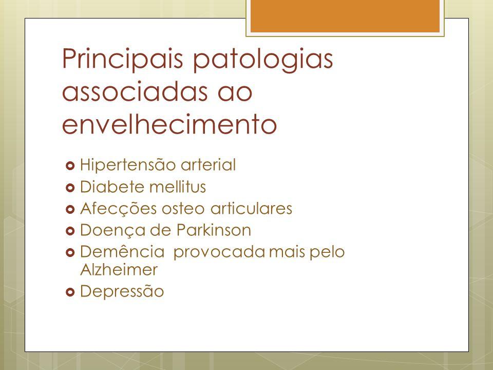 Principais patologias associadas ao envelhecimento Hipertensão arterial Diabete mellitus Afecções osteo articulares Doença de Parkinson Demência provocada mais pelo Alzheimer Depressão