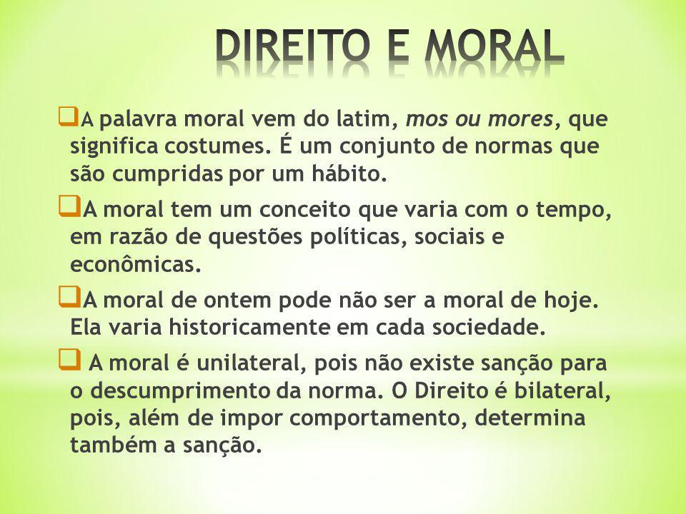 A palavra moral vem do latim, mos ou mores, que significa costumes. É um conjunto de normas que são cumpridas por um hábito. A moral tem um conceito q