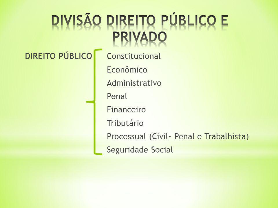DIREITO PÚBLICOConstitucional Econômico Administrativo Penal Financeiro Tributário Processual (Civil- Penal e Trabalhista) Seguridade Social